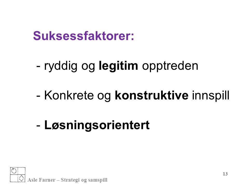 Asle Farner – Strategi og samspill 13 Suksessfaktorer: - ryddig og legitim opptreden - Konkrete og konstruktive innspill - Løsningsorientert