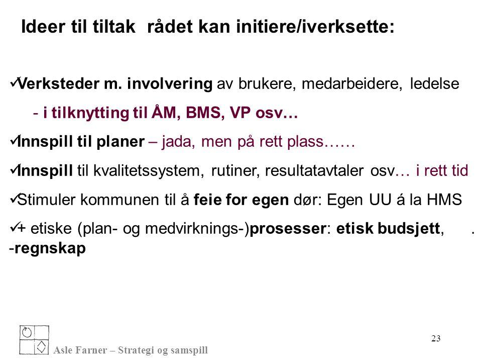 Asle Farner – Strategi og samspill Ideer til tiltak rådet kan initiere/iverksette:  Verksteder m. involvering av brukere, medarbeidere, ledelse - i t