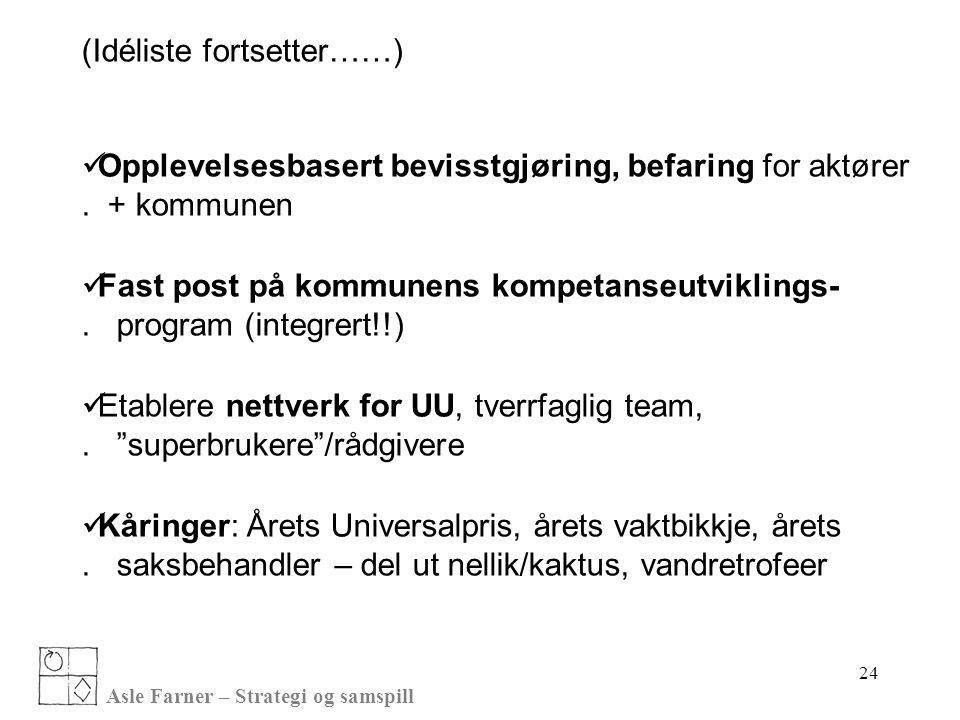 Asle Farner – Strategi og samspill 24 (Idéliste fortsetter……)  Opplevelsesbasert bevisstgjøring, befaring for aktører. + kommunen  Fast post på komm