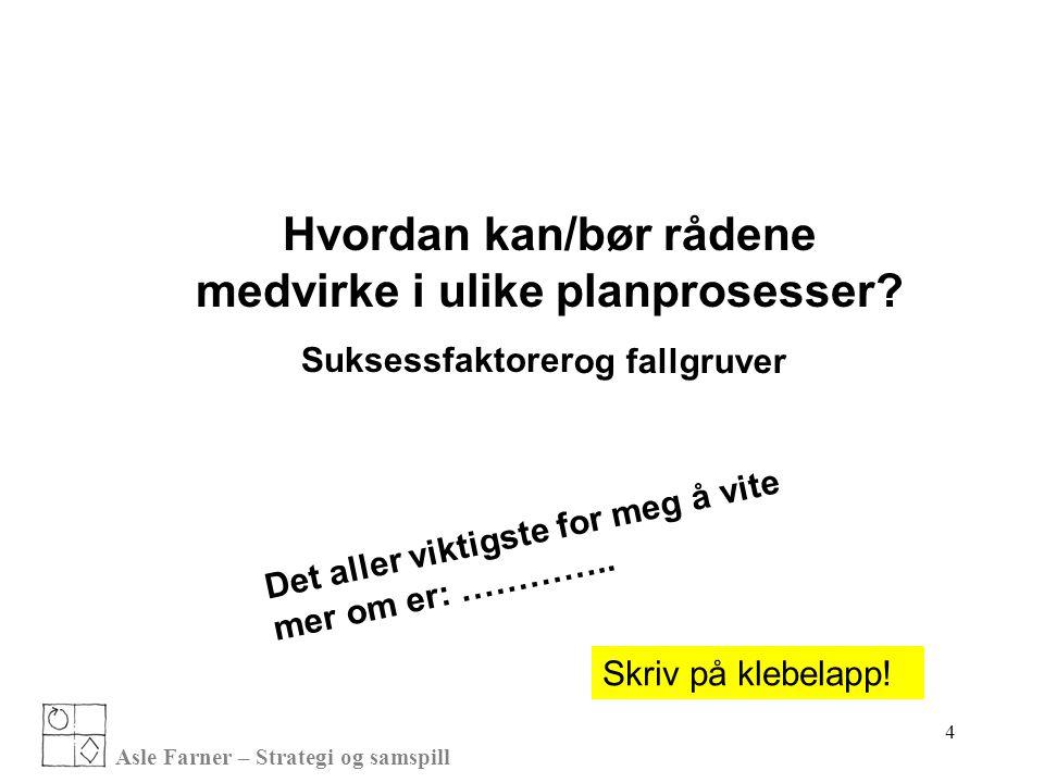 Asle Farner – Strategi og samspill Hvordan kan/bør rådene medvirke i ulike planprosesser.