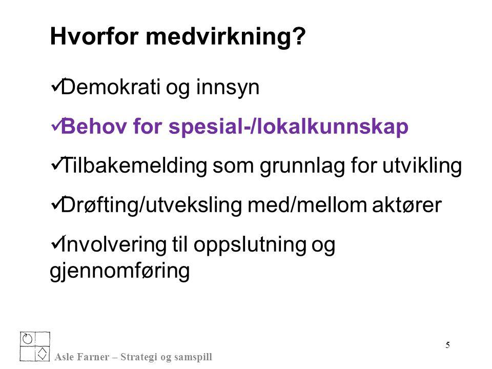 Asle Farner – Strategi og samspill 5 Hvorfor medvirkning?  Demokrati og innsyn  Behov for spesial-/lokalkunnskap  Tilbakemelding som grunnlag for u