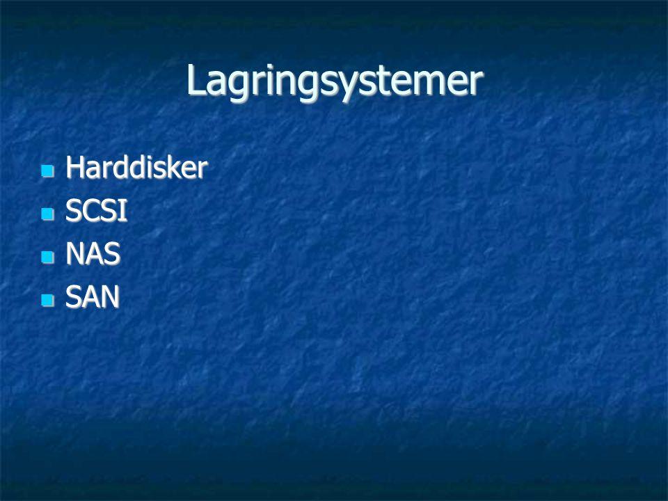 Lagringsystemer  Harddisker  SCSI  NAS  SAN