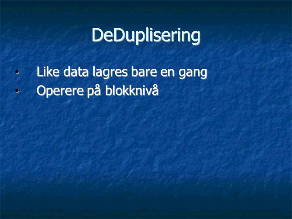 DeDuplisering • Like data lagres bare en gang • Operere på blokknivå