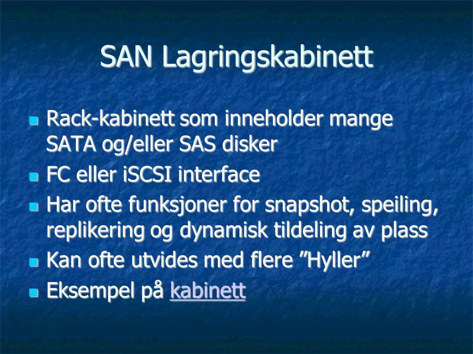 SAN Lagringskabinett  Rack-kabinett som inneholder mange SATA og/eller SAS disker  FC eller iSCSI interface  Har ofte funksjoner for snapshot, speiling, replikering og dynamisk tildeling av plass  Kan ofte utvides med flere Hyller  Eksempel på kabinett kabinett