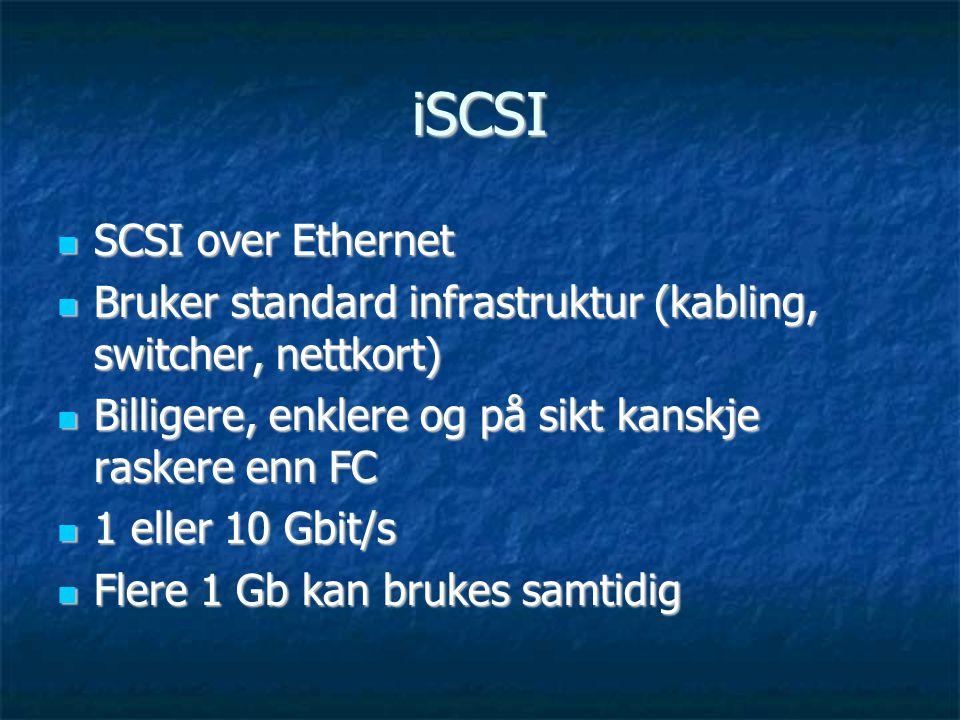 iSCSI  SCSI over Ethernet  Bruker standard infrastruktur (kabling, switcher, nettkort)  Billigere, enklere og på sikt kanskje raskere enn FC  1 eller 10 Gbit/s  Flere 1 Gb kan brukes samtidig