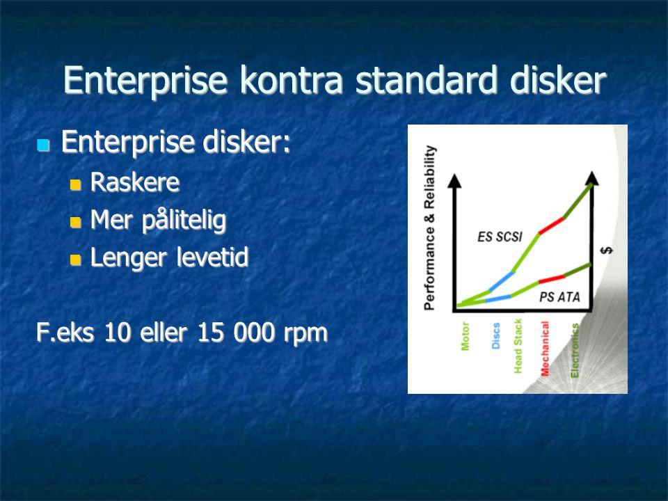 Enterprise kontra standard disker  Enterprise disker:  Raskere  Mer pålitelig  Lenger levetid F.eks 10 eller 15 000 rpm