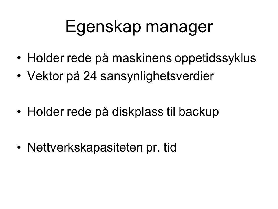 Egenskap manager •Holder rede på maskinens oppetidssyklus •Vektor på 24 sansynlighetsverdier •Holder rede på diskplass til backup •Nettverkskapasiteten pr.