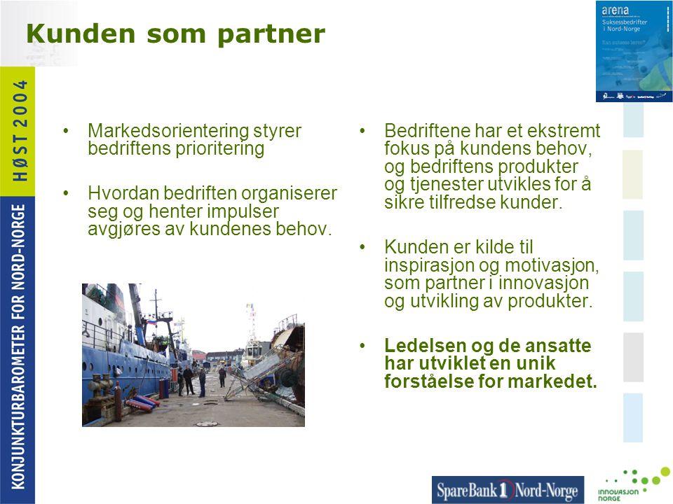 Kunden som partner •Markedsorientering styrer bedriftens prioritering •Hvordan bedriften organiserer seg og henter impulser avgjøres av kundenes behov