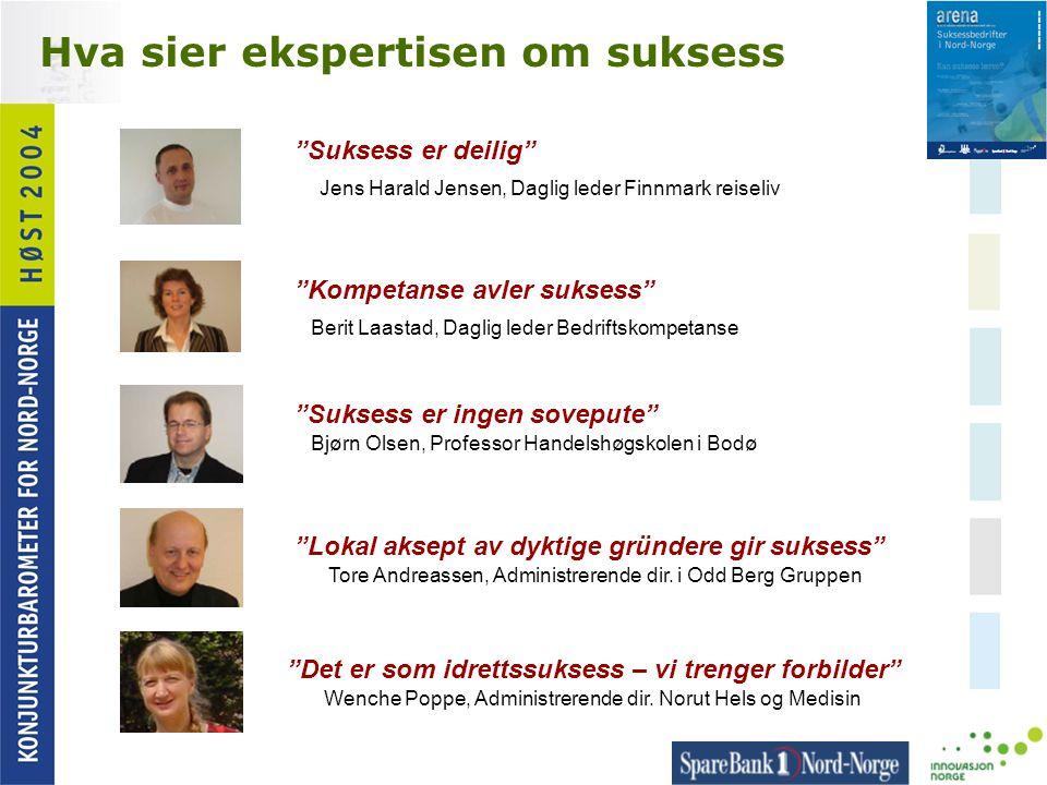 """Hva sier ekspertisen om suksess """"Suksess er deilig"""" Jens Harald Jensen, Daglig leder Finnmark reiseliv """"Kompetanse avler suksess"""" Berit Laastad, Dagli"""