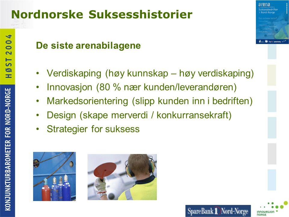 Nordnorske Suksesshistorier De siste arenabilagene •Verdiskaping (høy kunnskap – høy verdiskaping) •Innovasjon (80 % nær kunden/leverandøren) •Markeds