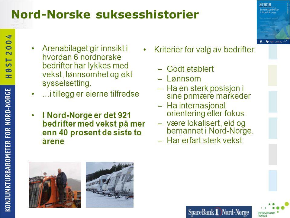Nord-Norske suksesshistorier •Arenabilaget gir innsikt i hvordan 6 nordnorske bedrifter har lykkes med vekst, lønnsomhet og økt sysselsetting. •...i t