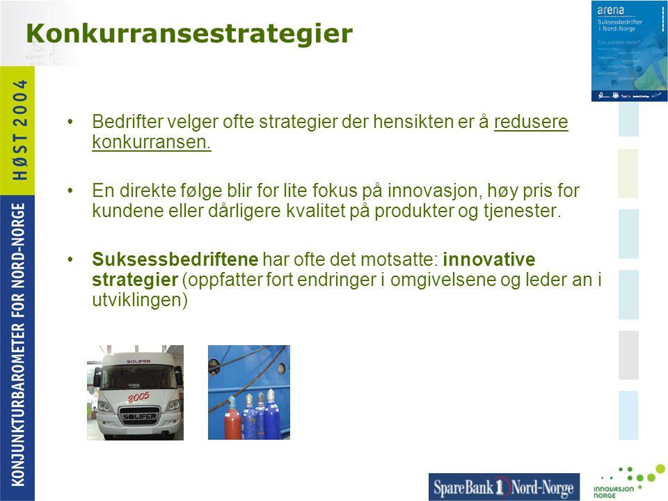 Konkurransestrategier •Bedrifter velger ofte strategier der hensikten er å redusere konkurransen. •En direkte følge blir for lite fokus på innovasjon,
