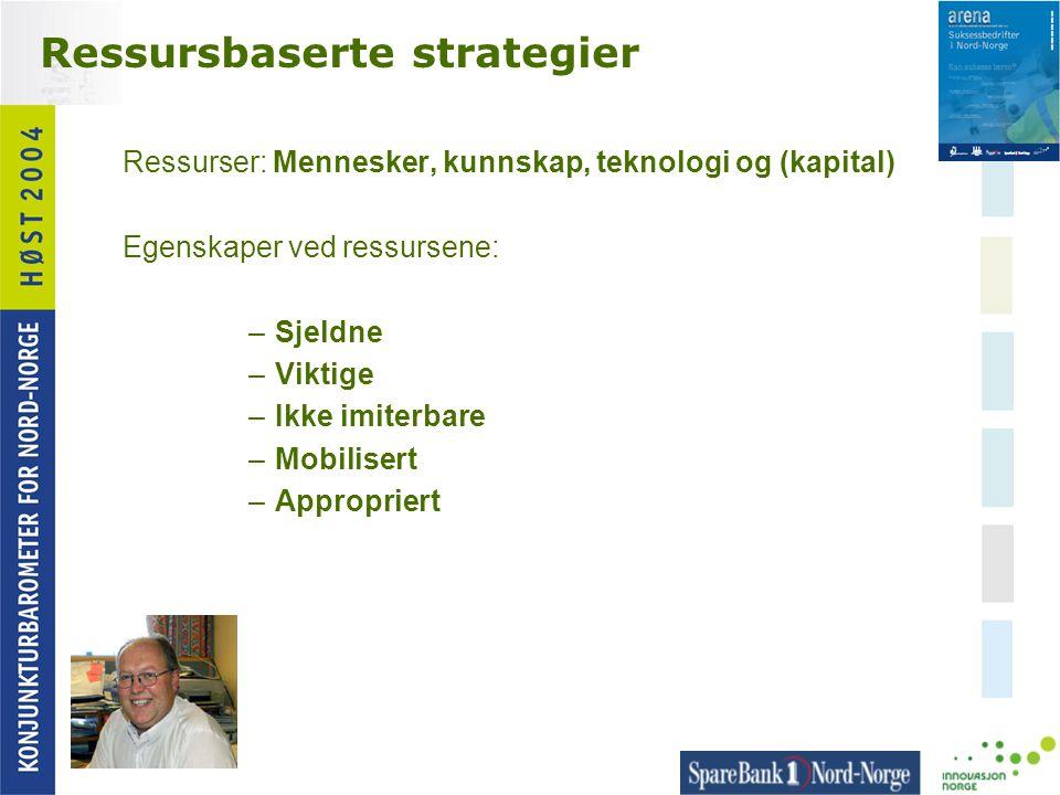 Ressursbaserte strategier Ressurser: Mennesker, kunnskap, teknologi og (kapital) Egenskaper ved ressursene: –Sjeldne –Viktige –Ikke imiterbare –Mobili