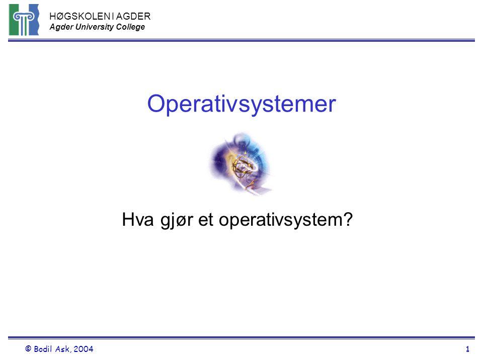 HØGSKOLEN I AGDER Agder University College © Bodil Ask, 20041 Operativsystemer Hva gjør et operativsystem?
