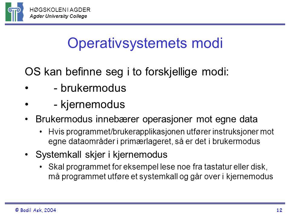 HØGSKOLEN I AGDER Agder University College © Bodil Ask, 200412 Operativsystemets modi OS kan befinne seg i to forskjellige modi: •- brukermodus •- kje