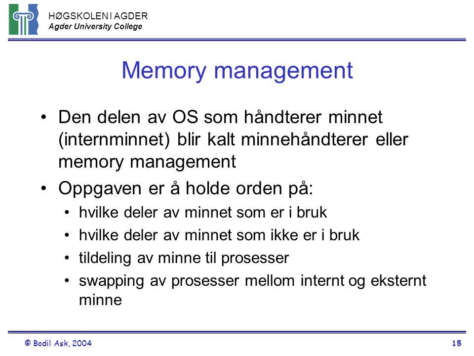 HØGSKOLEN I AGDER Agder University College © Bodil Ask, 200415 Memory management •Den delen av OS som håndterer minnet (internminnet) blir kalt minneh