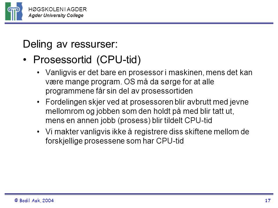 HØGSKOLEN I AGDER Agder University College © Bodil Ask, 200417 Deling av ressurser: •Prosessortid (CPU-tid) •Vanligvis er det bare en prosessor i mask