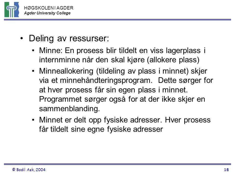 HØGSKOLEN I AGDER Agder University College © Bodil Ask, 200418 •Deling av ressurser: •Minne: En prosess blir tildelt en viss lagerplass i internminne