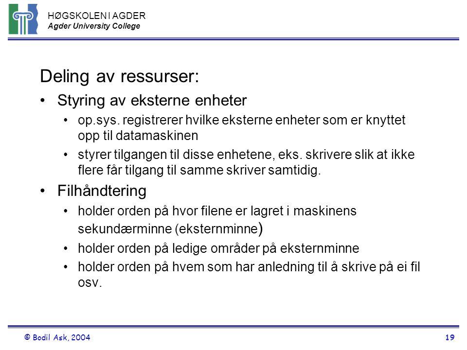 HØGSKOLEN I AGDER Agder University College © Bodil Ask, 200419 Deling av ressurser: •Styring av eksterne enheter •op.sys. registrerer hvilke eksterne