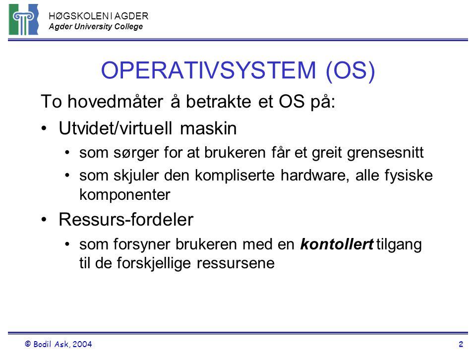 HØGSKOLEN I AGDER Agder University College © Bodil Ask, 20042 OPERATIVSYSTEM (OS) To hovedmåter å betrakte et OS på: •Utvidet/virtuell maskin •som sør