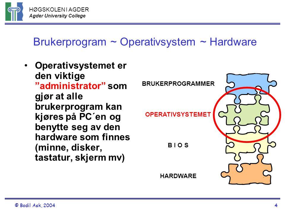 "HØGSKOLEN I AGDER Agder University College © Bodil Ask, 20044 Brukerprogram ~ Operativsystem ~ Hardware •Operativsystemet er den viktige ""administrato"