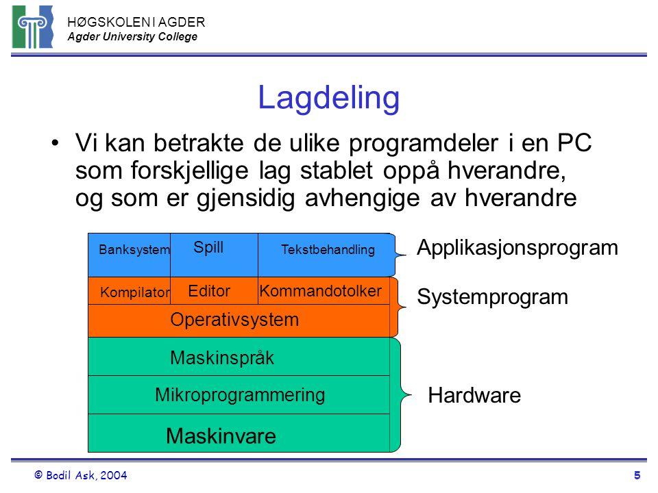HØGSKOLEN I AGDER Agder University College © Bodil Ask, 20045 Lagdeling •Vi kan betrakte de ulike programdeler i en PC som forskjellige lag stablet op