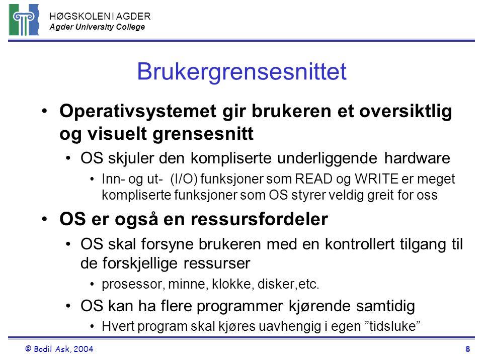 HØGSKOLEN I AGDER Agder University College © Bodil Ask, 20048 Brukergrensesnittet •Operativsystemet gir brukeren et oversiktlig og visuelt grensesnitt