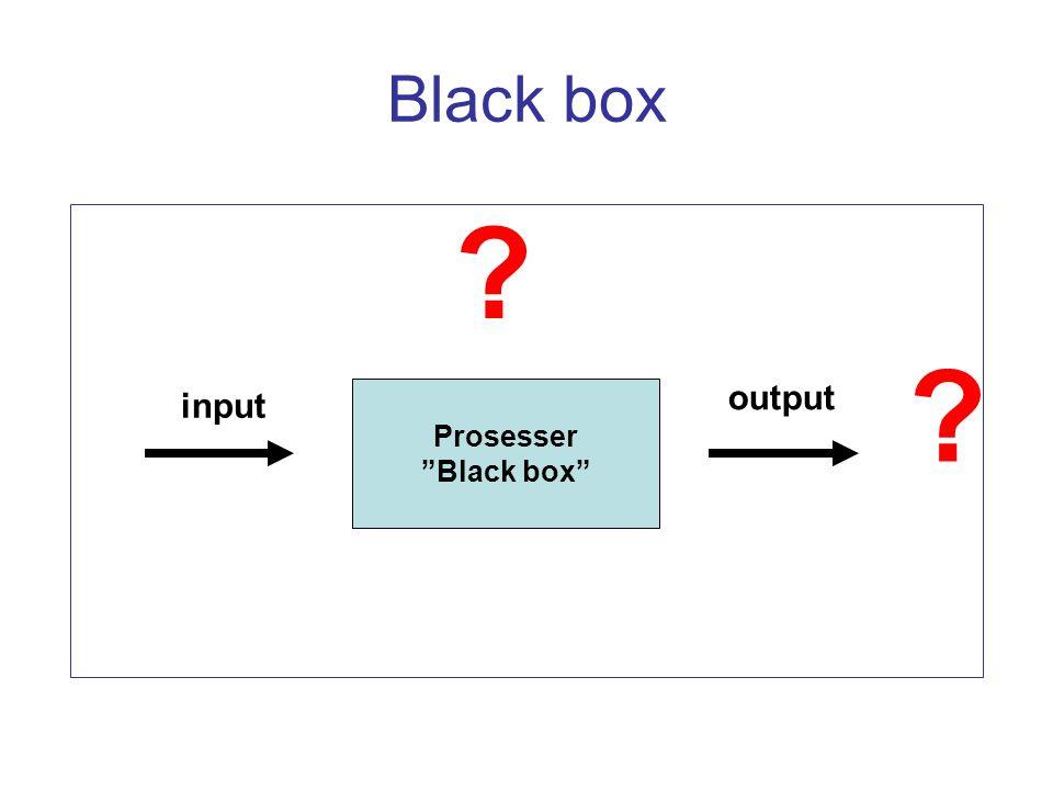"Black box Prosesser ""Black box"" input output ? ?"