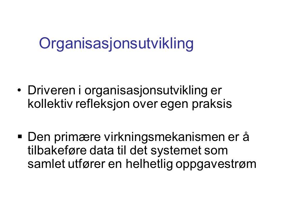 Organisasjonsutvikling •Driveren i organisasjonsutvikling er kollektiv refleksjon over egen praksis  Den primære virkningsmekanismen er å tilbakeføre