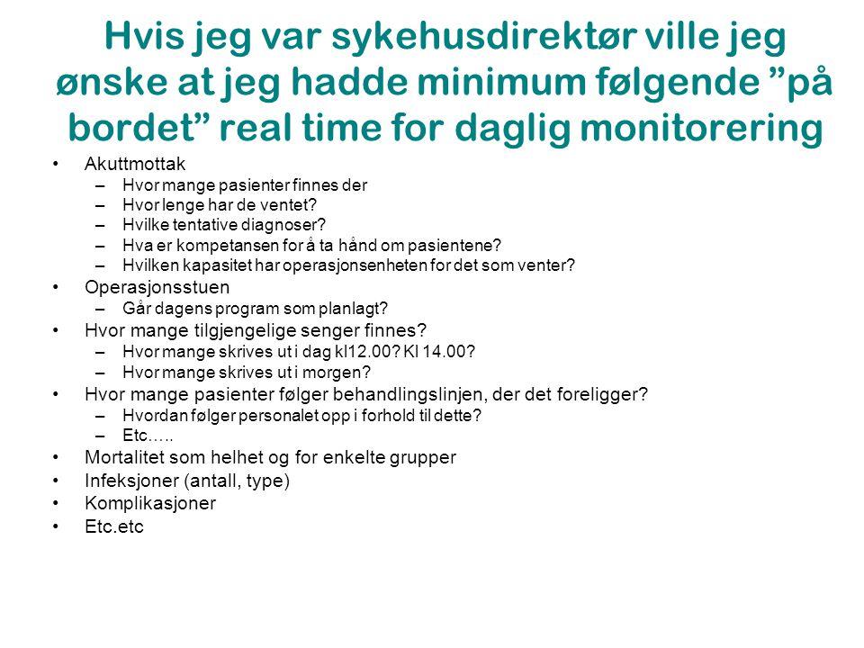 Hvis jeg var sykehusdirektør ville jeg ønske at jeg hadde minimum følgende på bordet real time for daglig monitorering •Akuttmottak –Hvor mange pasienter finnes der –Hvor lenge har de ventet.