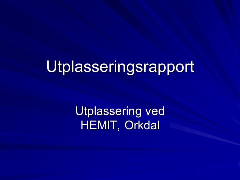 Utplasseringsrapport Utplassering ved HEMIT, Orkdal