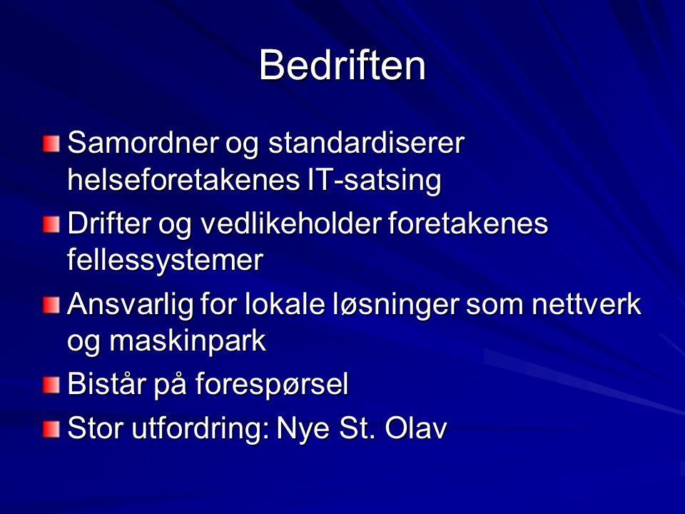 Organisering Enhet under Helse Midt-Norge RHF med eget styre Fire avdelinger: - Infrastruktur - Kundeservice - Anvendelse - Forretningsutvikling HEMIT, avdeling OSS under Infrastruktur