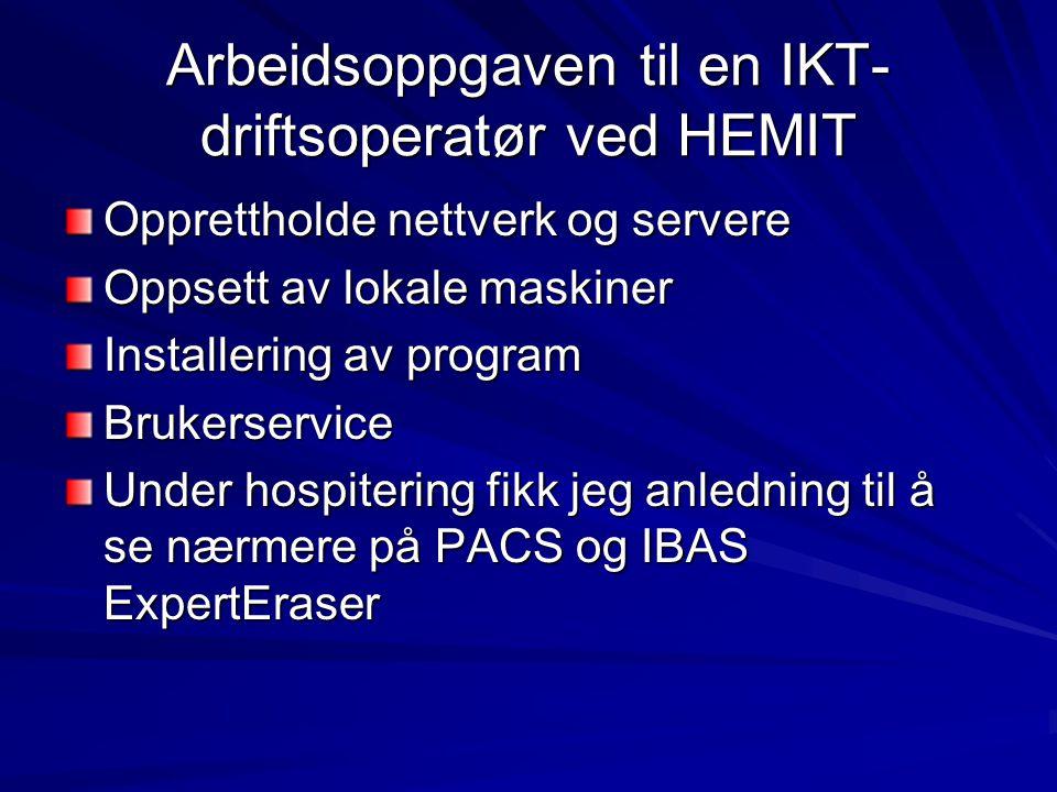 PACS Picture Archiving and Communication System System for digital røntgen Alt fra digitalisering til maskinvare OSS, et av de første sykehusene i Midt-Norge Alle bildene er nå digitale Kan nås fra hvilken som helst arbeidsstasjon Kan nås fra annet sykehus