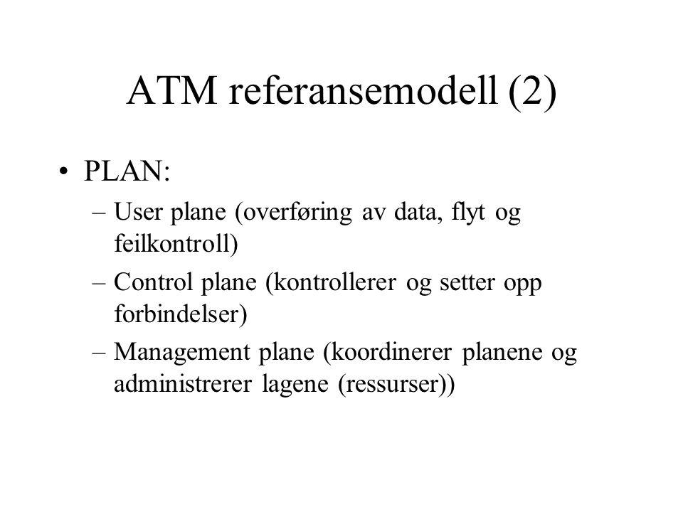 ATM referansemodell (3) •Lag –Fysiske laget : datarate opp til 622,08 Mbps –ATM laget: tar hånd om overføringen av data (som flytkontroll i OSI) og de logiske kanalene (VCC og VCP) –AAL: overfører informasjon fra høyere lag til ATM celler