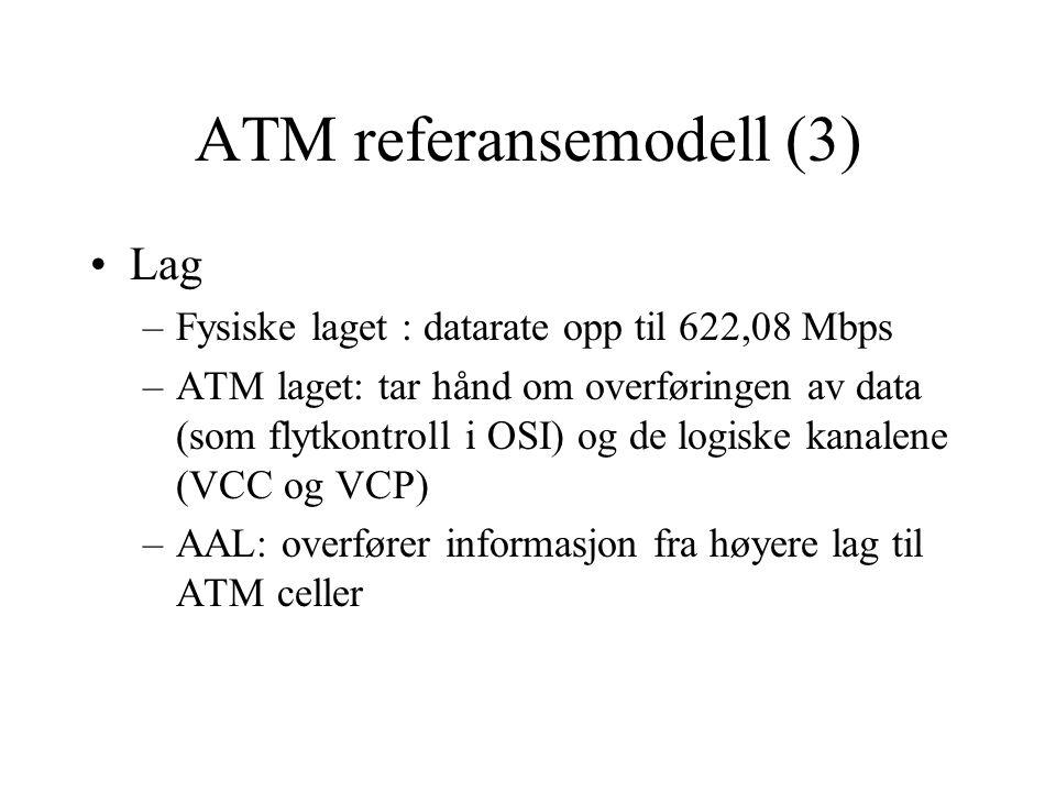 ATM og OSI •ATM dekker de to nedereste lagene (+ at lag 3 funksjonalitet er inkludert i lag 2.