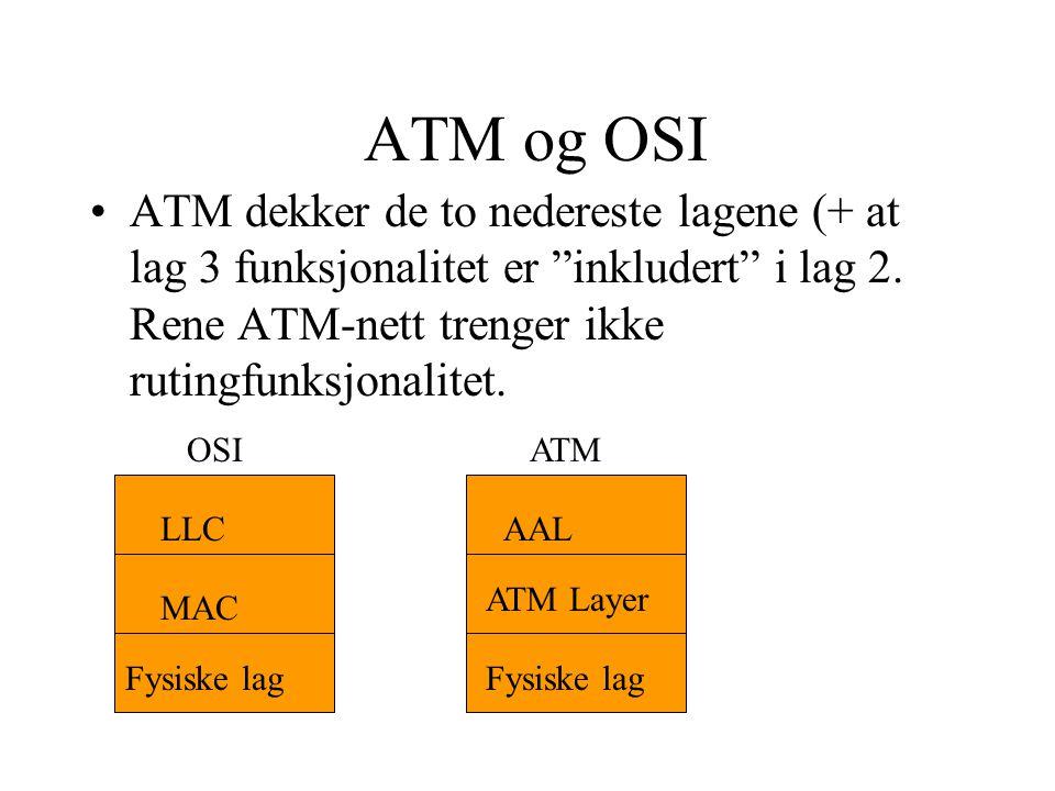 ATM logiske forbindelser (1) •Virtual channel connections (VCC) (svitsjing i ATM-nett) (oppretter en forbindelse for en forekomst av en applikasjon på maskinen) •Virtual path connection (VPC) (samler alle forbindelser fra alle forekomster av applikasjonene på samme maskin)