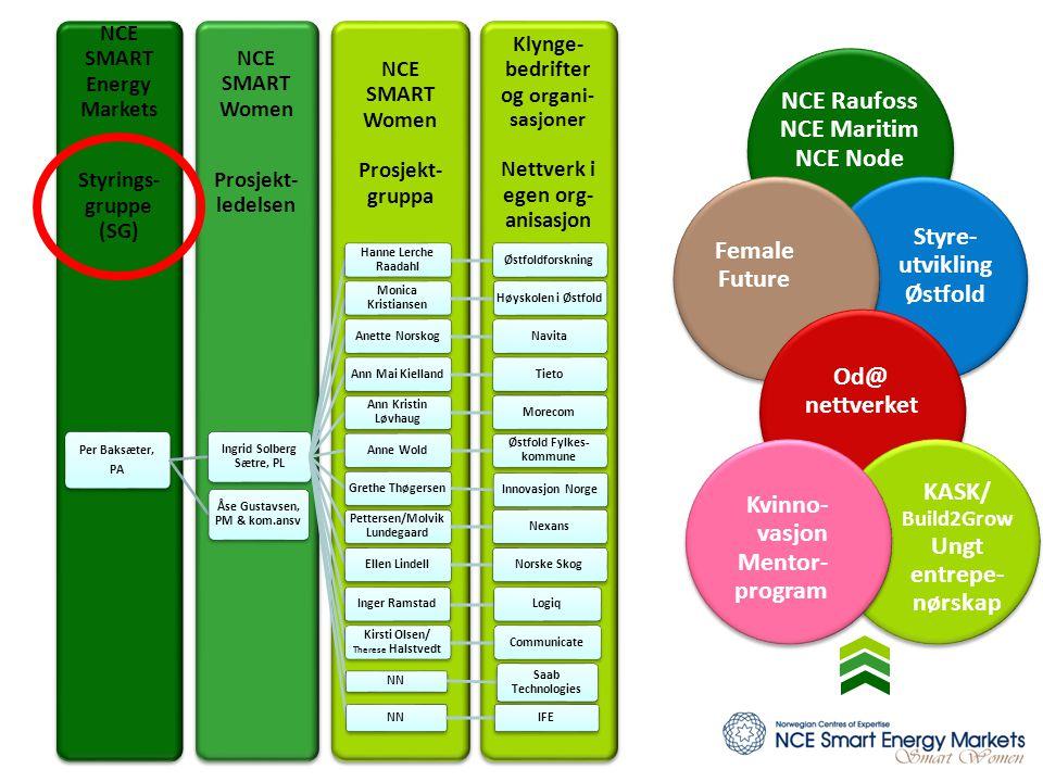 Klynge- bedrifter og organi- sasjoner Nettverk i egen org- anisasjon NCE SMART Women Prosjekt- gruppa NCE SMART Women Prosjekt- ledelsen NCE SMART Ene