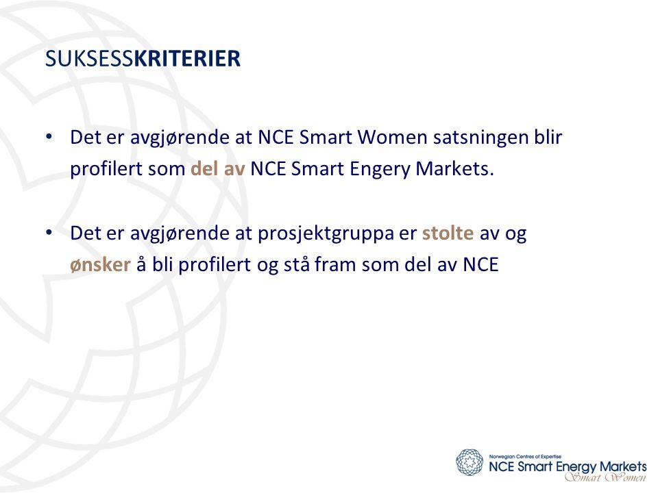 SUKSESSKRITERIER • Det er avgjørende at NCE Smart Women satsningen blir profilert som del av NCE Smart Engery Markets. • Det er avgjørende at prosjekt