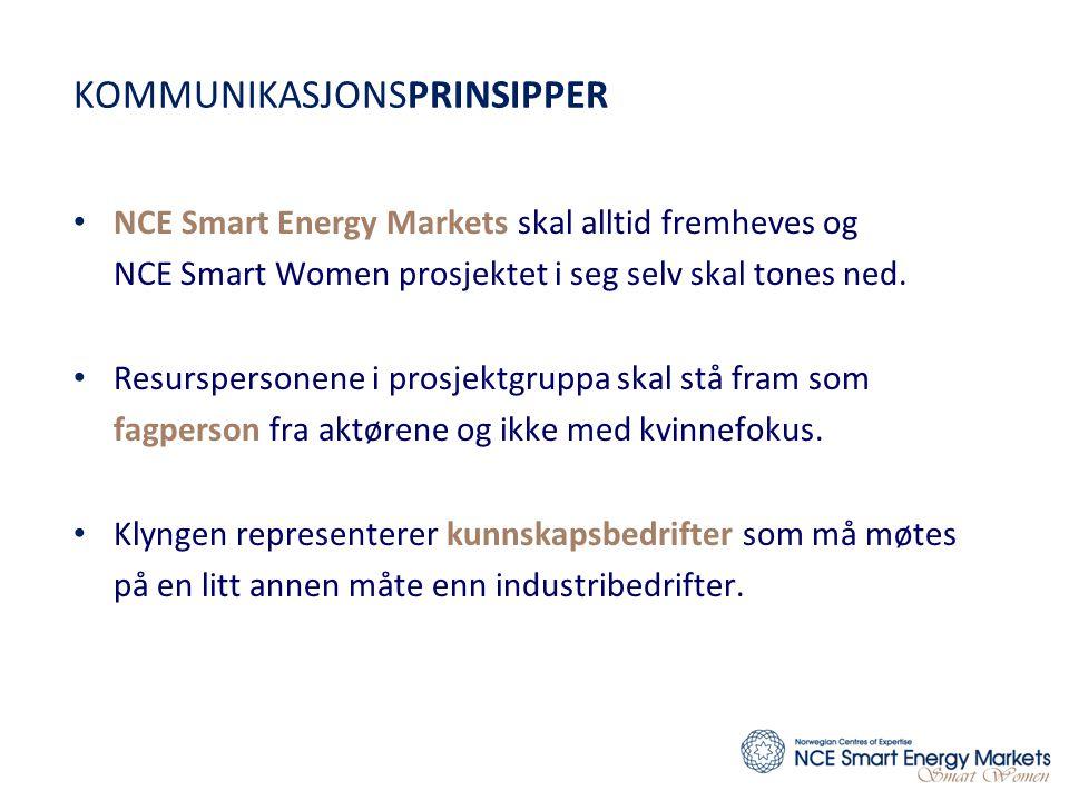 KOMMUNIKASJONSPRINSIPPER • NCE Smart Energy Markets skal alltid fremheves og NCE Smart Women prosjektet i seg selv skal tones ned. • Resurspersonene i