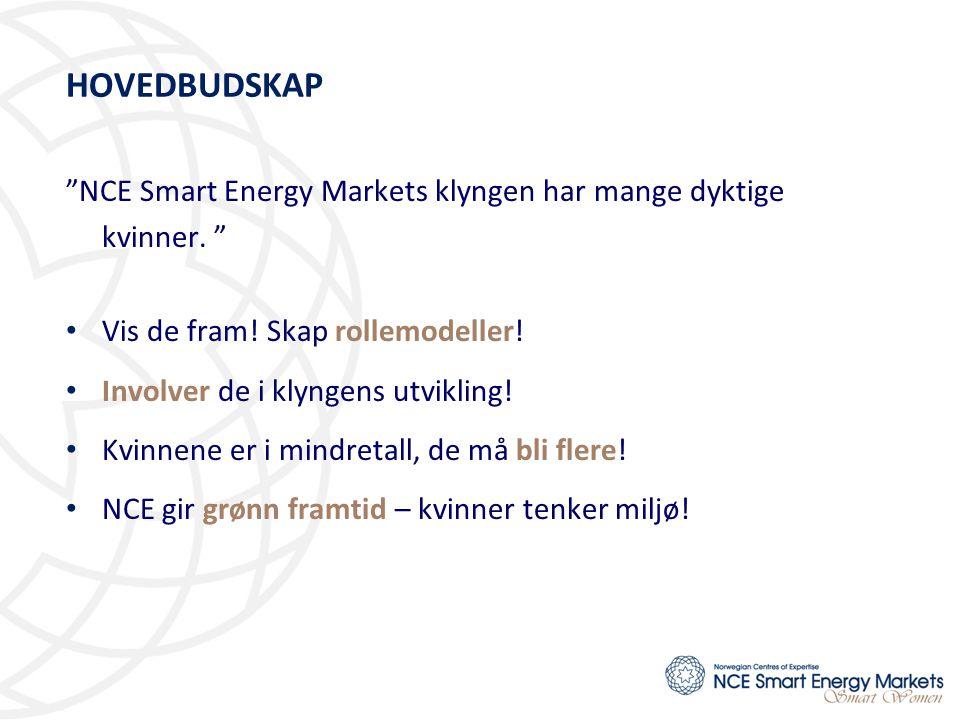 """HOVEDBUDSKAP """"NCE Smart Energy Markets klyngen har mange dyktige kvinner. """" • Vis de fram! Skap rollemodeller! • Involver de i klyngens utvikling! • K"""