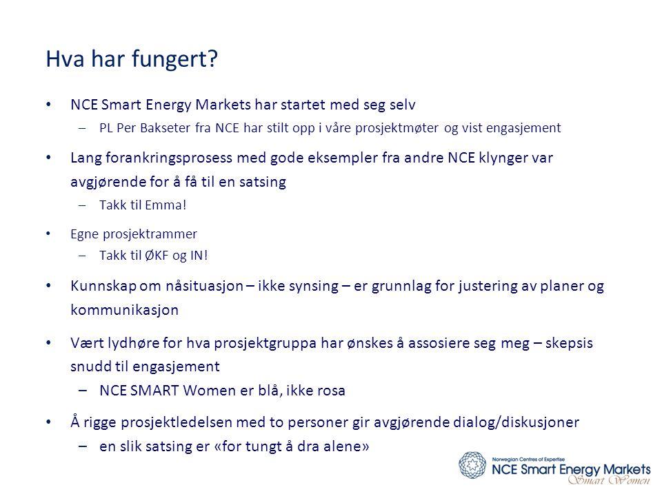 Hva har fungert? • NCE Smart Energy Markets har startet med seg selv –PL Per Bakseter fra NCE har stilt opp i våre prosjektmøter og vist engasjement •