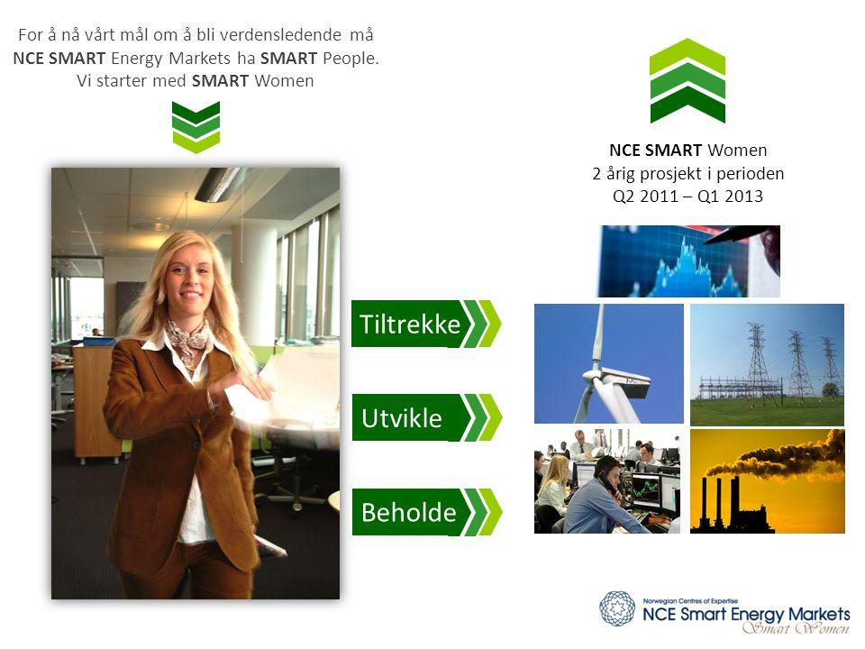 NCE SMART Women 2 årig prosjekt i perioden Q2 2011 – Q1 2013 For å nå vårt mål om å bli verdensledende må NCE SMART Energy Markets ha SMART People. Vi