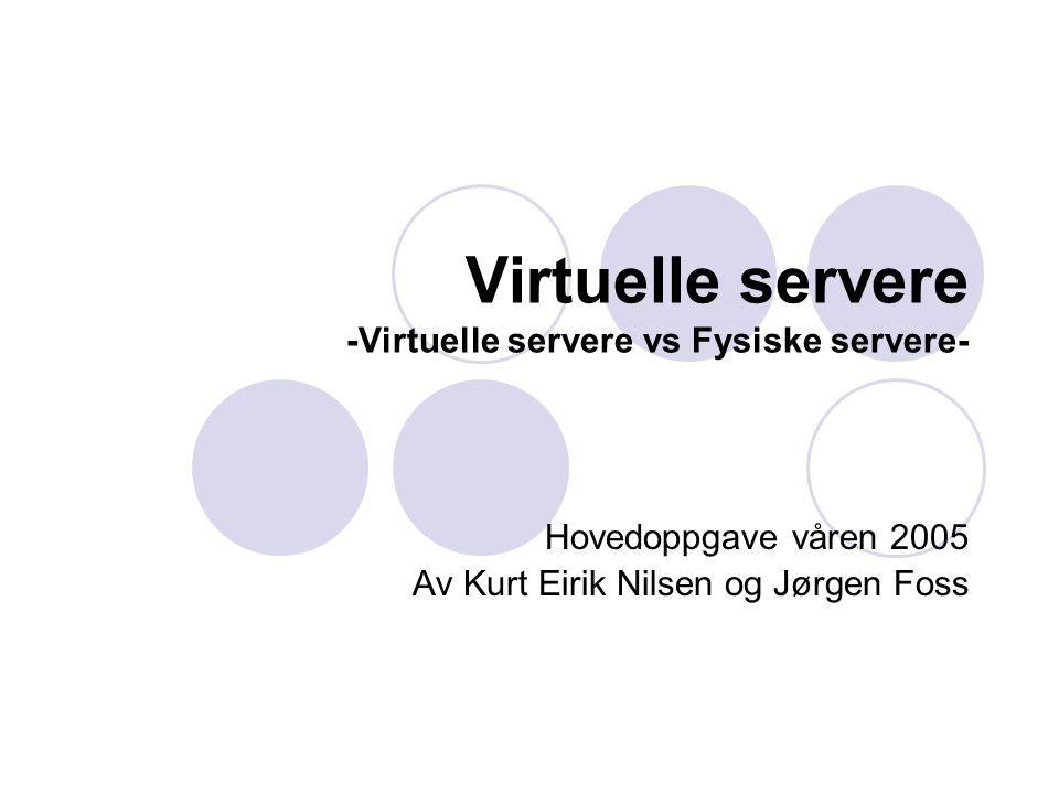 Virtuelle servereHovedoppgave våren 20052 Agenda  Bakgrunn for prosjektet  Problemstilling  Virtuelle tjenere  Testing  Målinger  Resultat  Konklusjon
