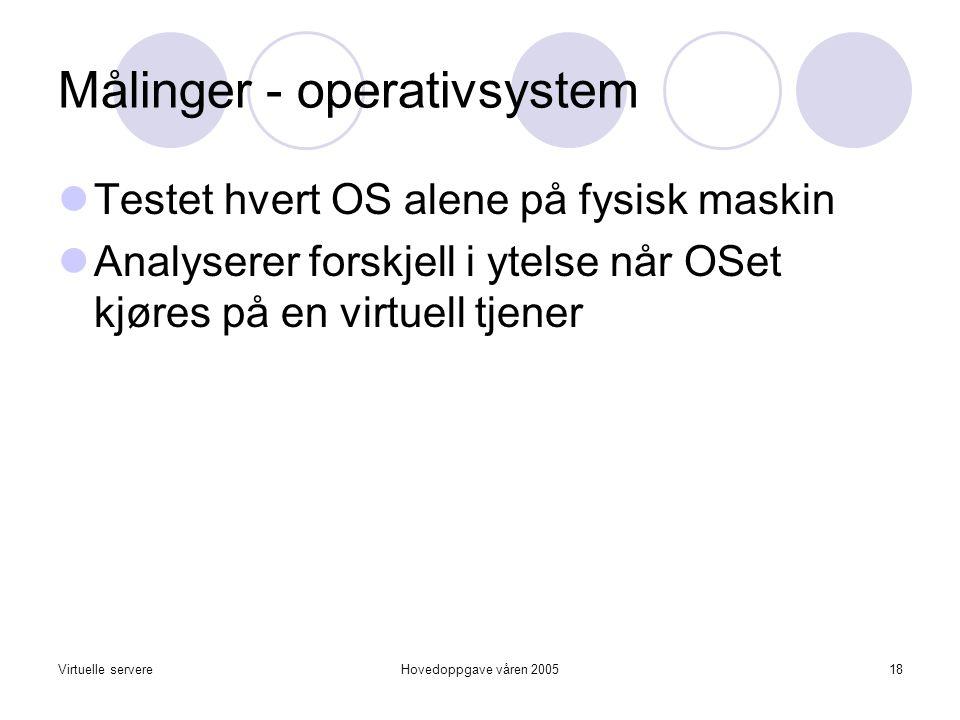 Virtuelle servereHovedoppgave våren 200518 Målinger - operativsystem  Testet hvert OS alene på fysisk maskin  Analyserer forskjell i ytelse når OSet kjøres på en virtuell tjener