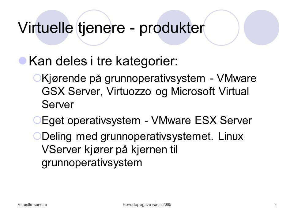 Virtuelle servereHovedoppgave våren 20058 Virtuelle tjenere - produkter  Kan deles i tre kategorier:  Kjørende på grunnoperativsystem - VMware GSX Server, Virtuozzo og Microsoft Virtual Server  Eget operativsystem - VMware ESX Server  Deling med grunnoperativsystemet.