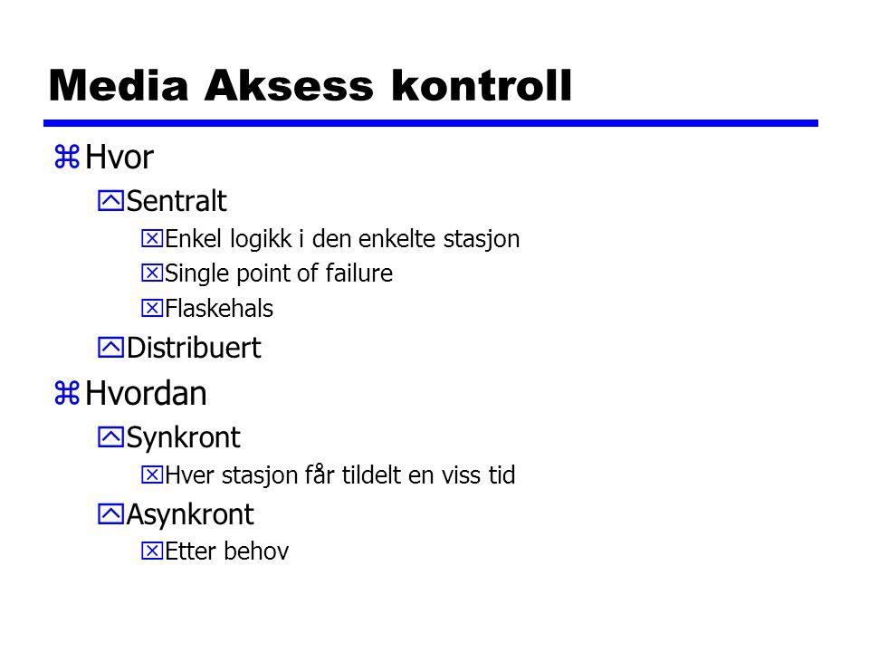 Media Aksess kontroll zHvor ySentralt xEnkel logikk i den enkelte stasjon xSingle point of failure xFlaskehals yDistribuert zHvordan ySynkront xHver s