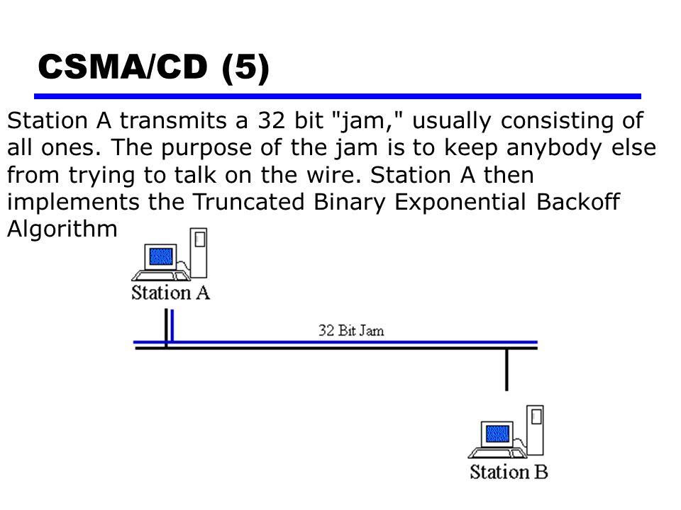 CSMA/CD (5) Station A transmits a 32 bit