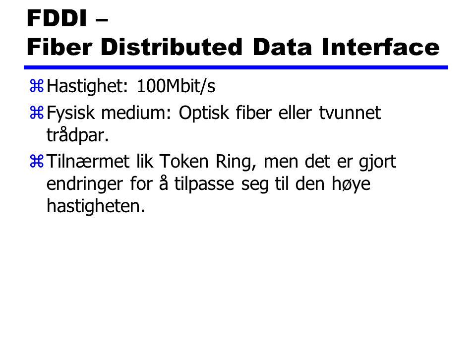 FDDI – Fiber Distributed Data Interface zHastighet: 100Mbit/s zFysisk medium: Optisk fiber eller tvunnet trådpar. zTilnærmet lik Token Ring, men det e