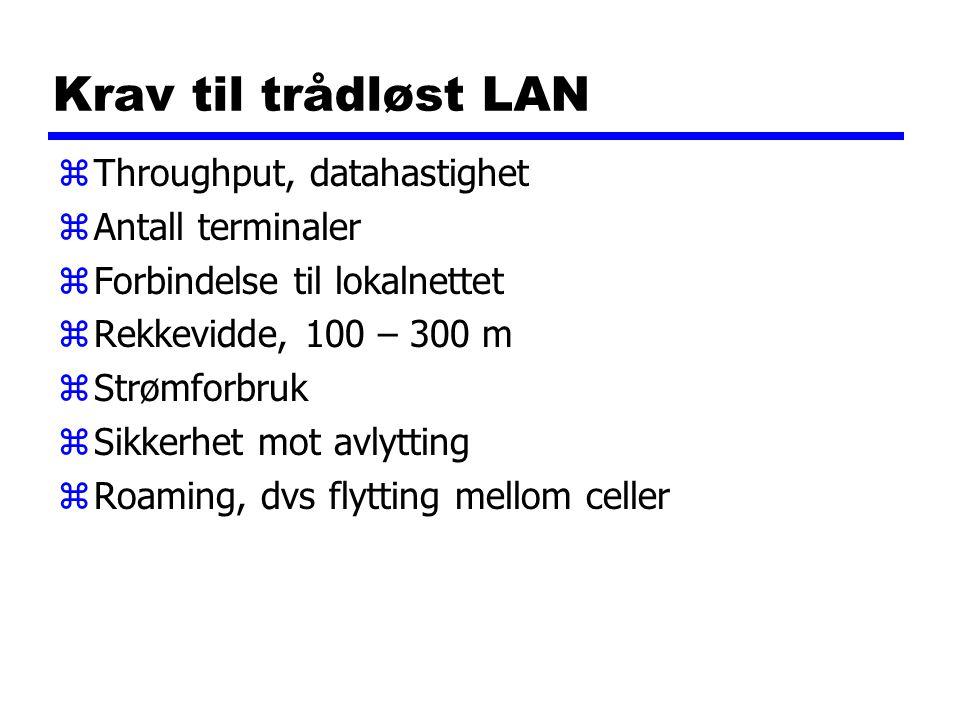 Krav til trådløst LAN zThroughput, datahastighet zAntall terminaler zForbindelse til lokalnettet zRekkevidde, 100 – 300 m zStrømforbruk zSikkerhet mot avlytting zRoaming, dvs flytting mellom celler