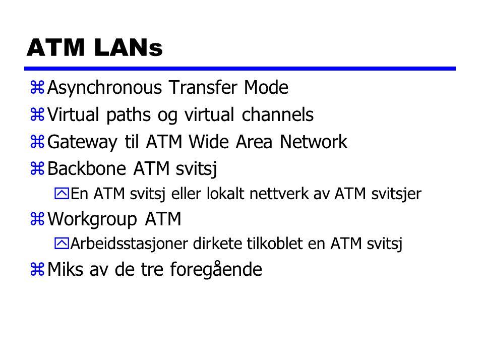 ATM LANs zAsynchronous Transfer Mode zVirtual paths og virtual channels zGateway til ATM Wide Area Network zBackbone ATM svitsj yEn ATM svitsj eller lokalt nettverk av ATM svitsjer zWorkgroup ATM yArbeidsstasjoner dirkete tilkoblet en ATM svitsj zMiks av de tre foregående